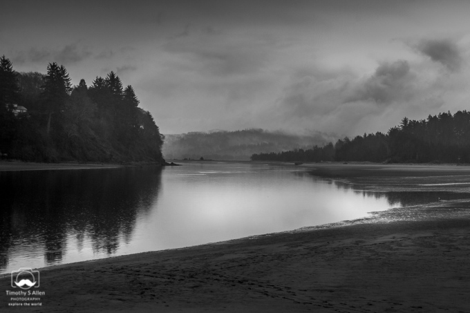 Salmon River estuary looking west toward the Pacific Ocean. North of Lincoln City, Oregon. November 14, 2013.