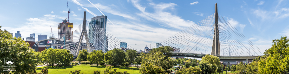 A view of the Boston and the Leonard P. Zakim Bridge from the Paul Revere Park. This park runs along the Charles River. Boston-Cambridge, MA, September 16, 2018.