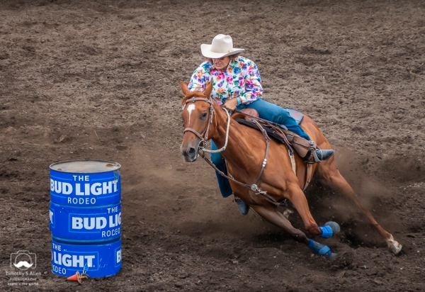 """We want to make it around this barrel in the fastest time without knocking it over."" Russian River Rodeo, Duncans Mills, Sonoma County, CA, U.S.A. June 24, 2018"