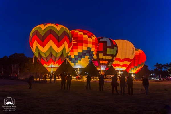 The crews of five hot air balloons prepare to launch their balloons into the early morning for a dawn patrol at the Sonoma County Hot Air Balloon Classic. Windsor, CA, U.S.A. June 14, 2014