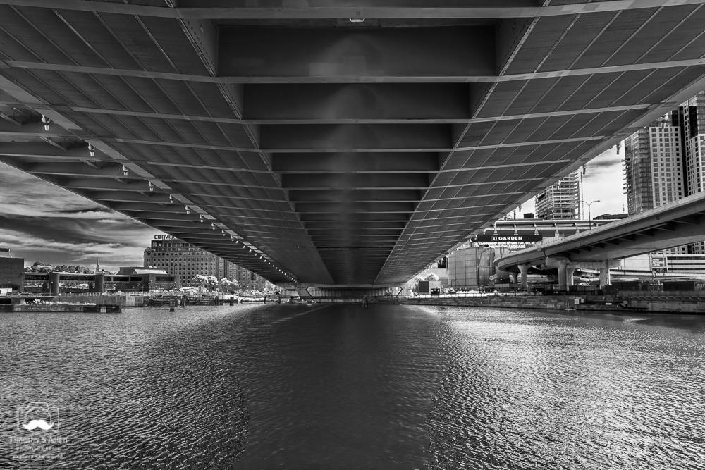 Charles River under the Leonard P. Zakim Bridge, Cambridge-Boston, MA, U.S.A. September 16, 2018