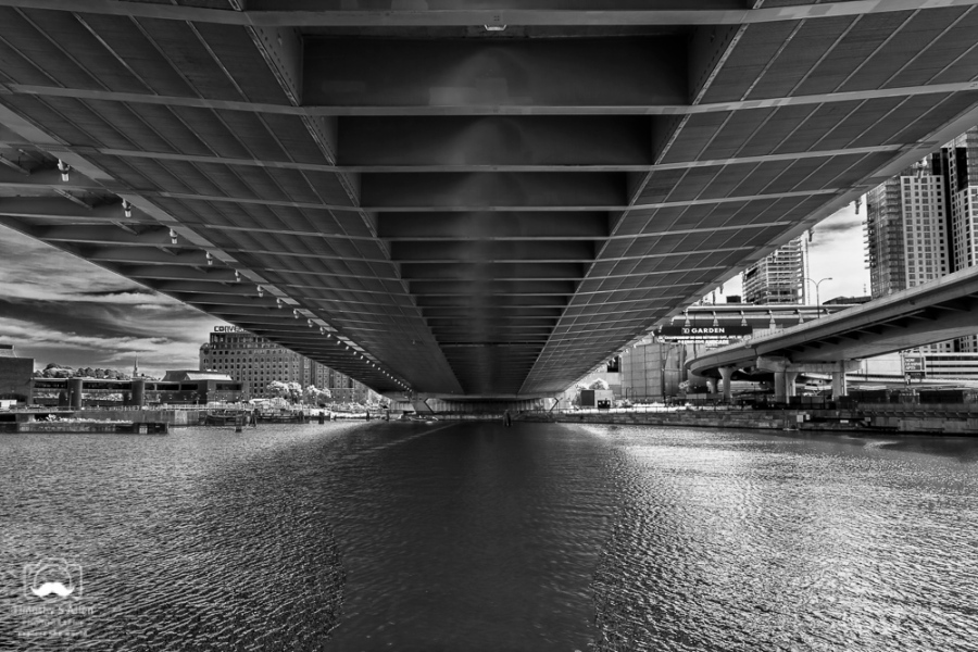 Charles River under the Leonard P. Zakim Bridge, Cambridge-Boston, MA, U.S.A. September 16, 2018