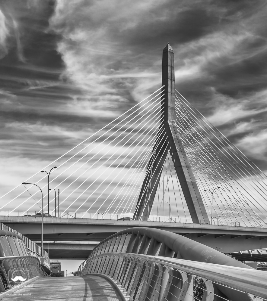– Path under the Leonard P. Zakim Bridge, Cambridge-Boston, MA, U.S.A. September 16, 2018.